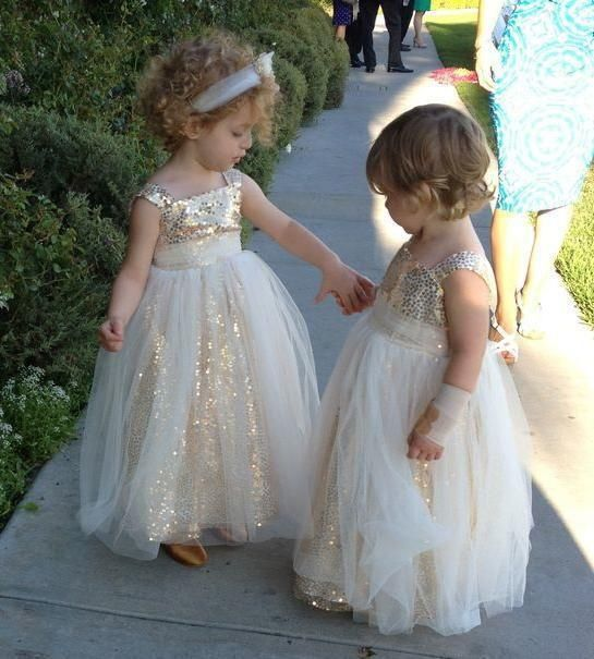 Sparkly Long Ball Gown Flower Girl Dresses Champagne Gold Sequins Little  Bride Dress Vestido Infantil First Communion Dresses bb9ebb31396a