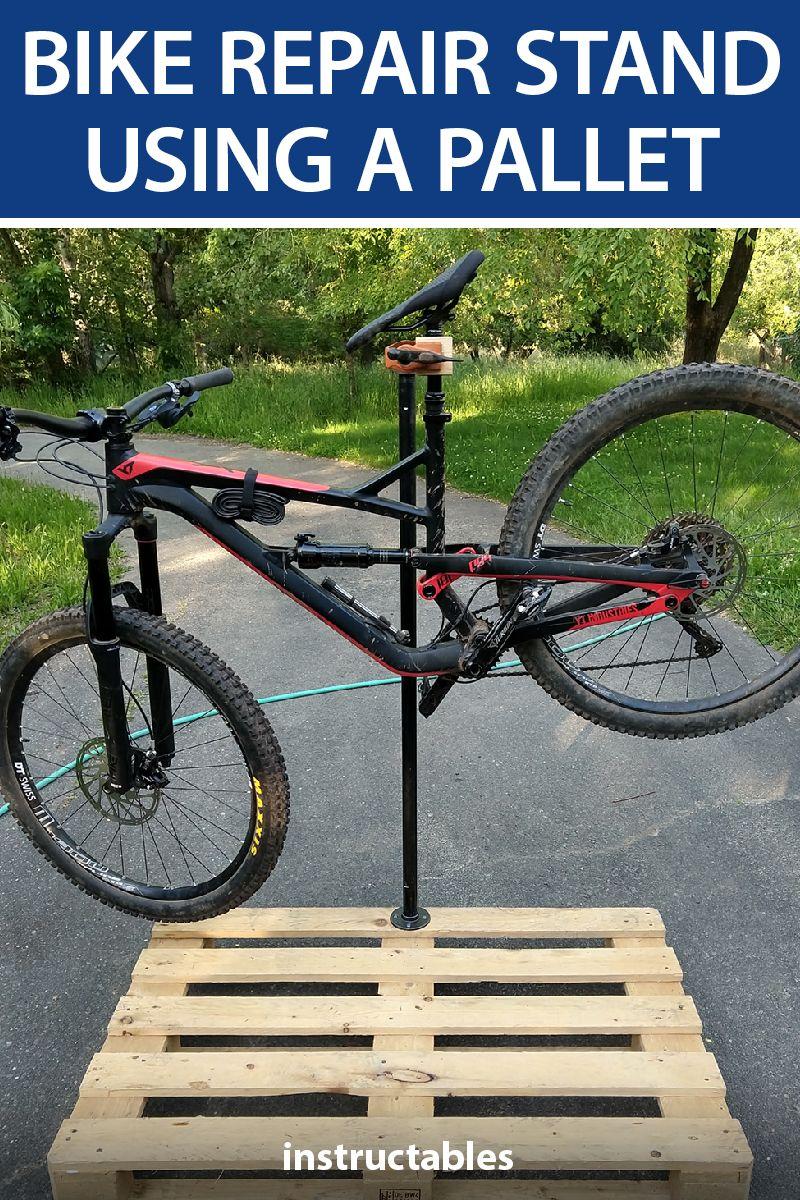 Bike Repair Stand Using A Pallet Bike Repair Stand Bike Stand Diy Bike Repair