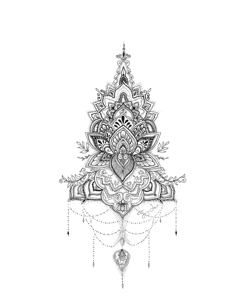(CreativeWork) Lotus Mandala by Octavia Art. drawing. Shop