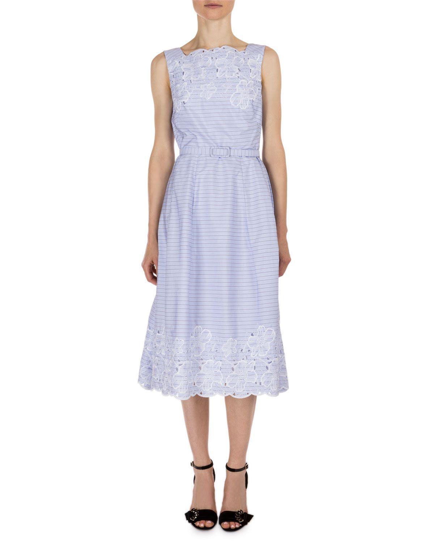 Erdem Striped Broderie Anglaise Sleeveless Dress Blue White Striped Midi Dress Midi Dress Sleeveless Calf Length Dress