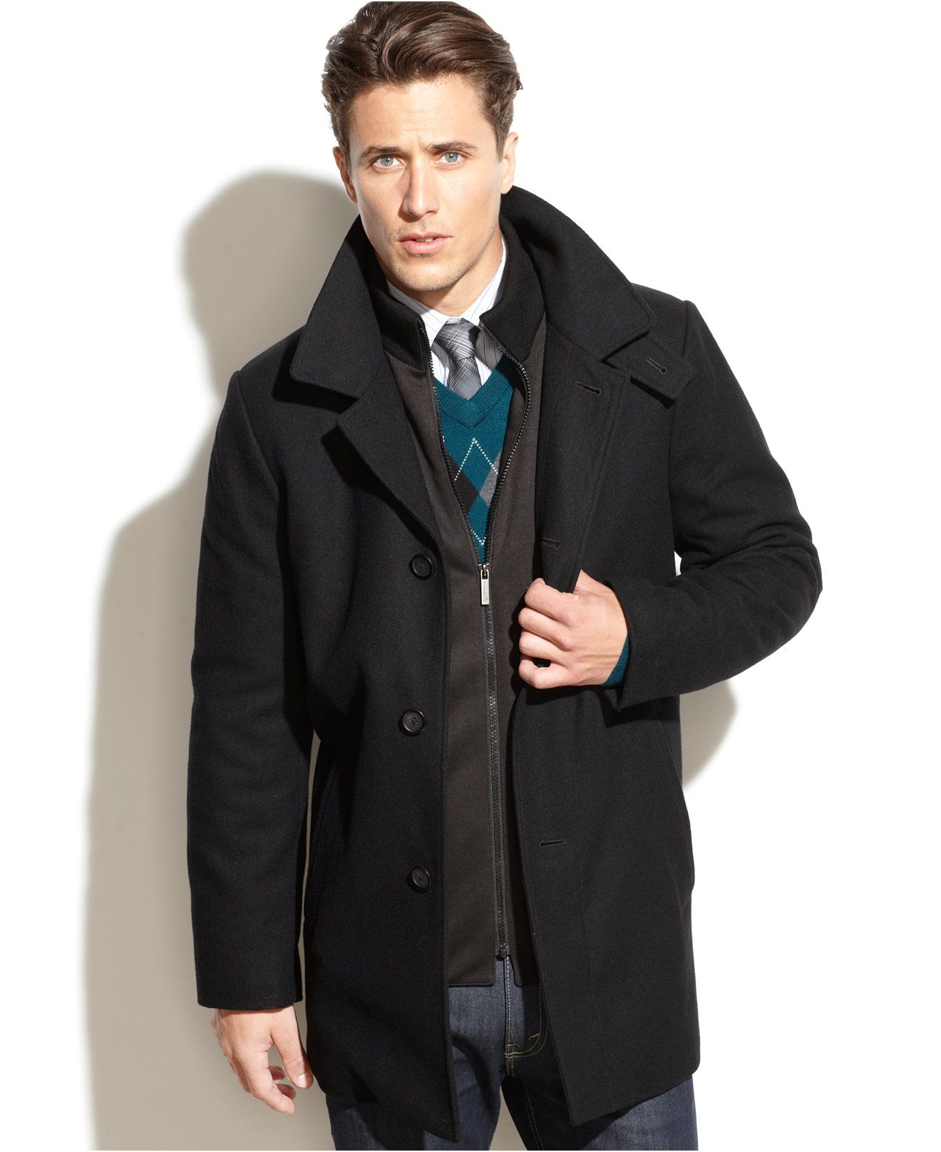 Kenneth Cole New York Eliot Wool-Blend Over Coat Slim-Fit - Coats ...