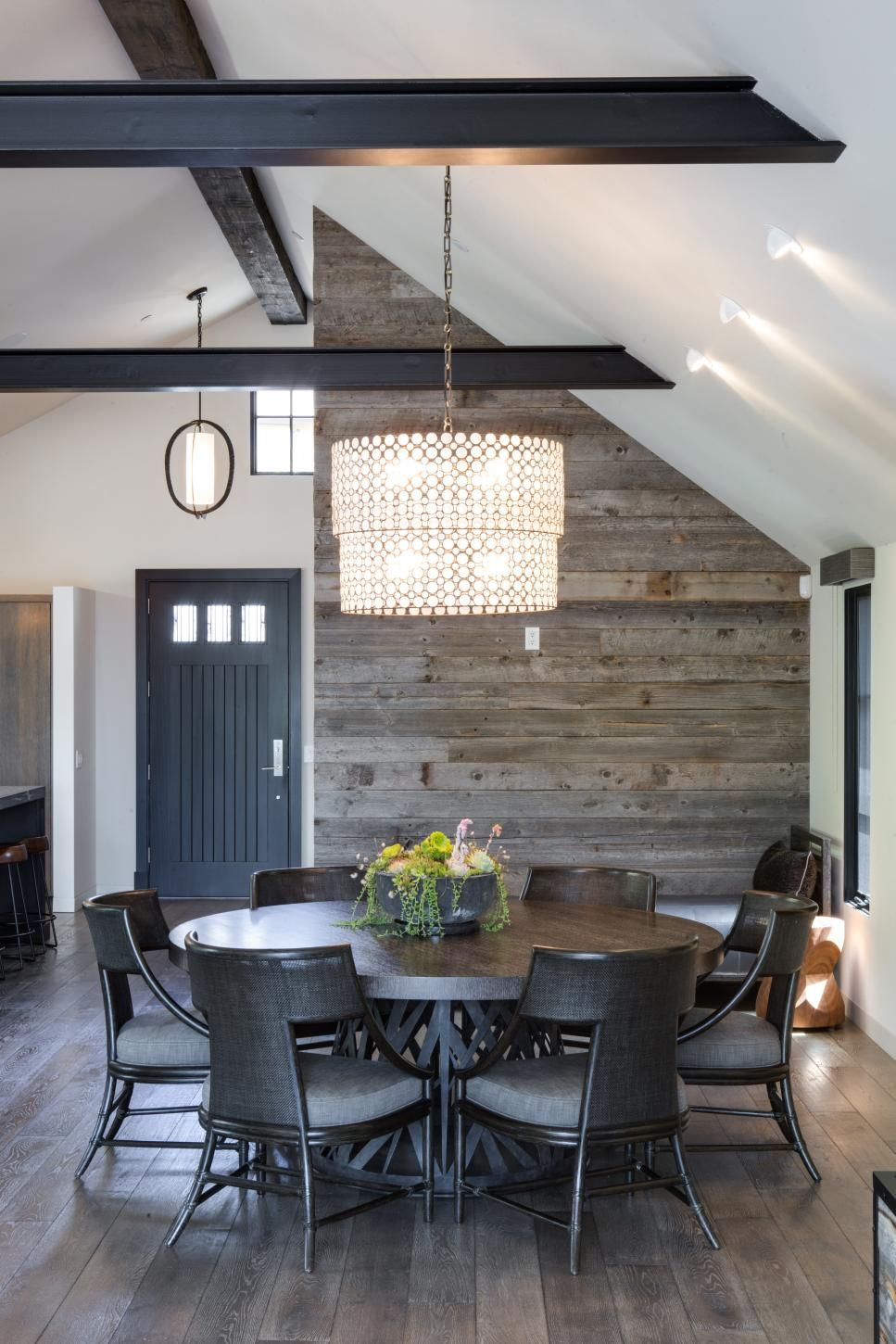 Black Beams Chandelier Showcase Vaulted Ceilings Ceiling B