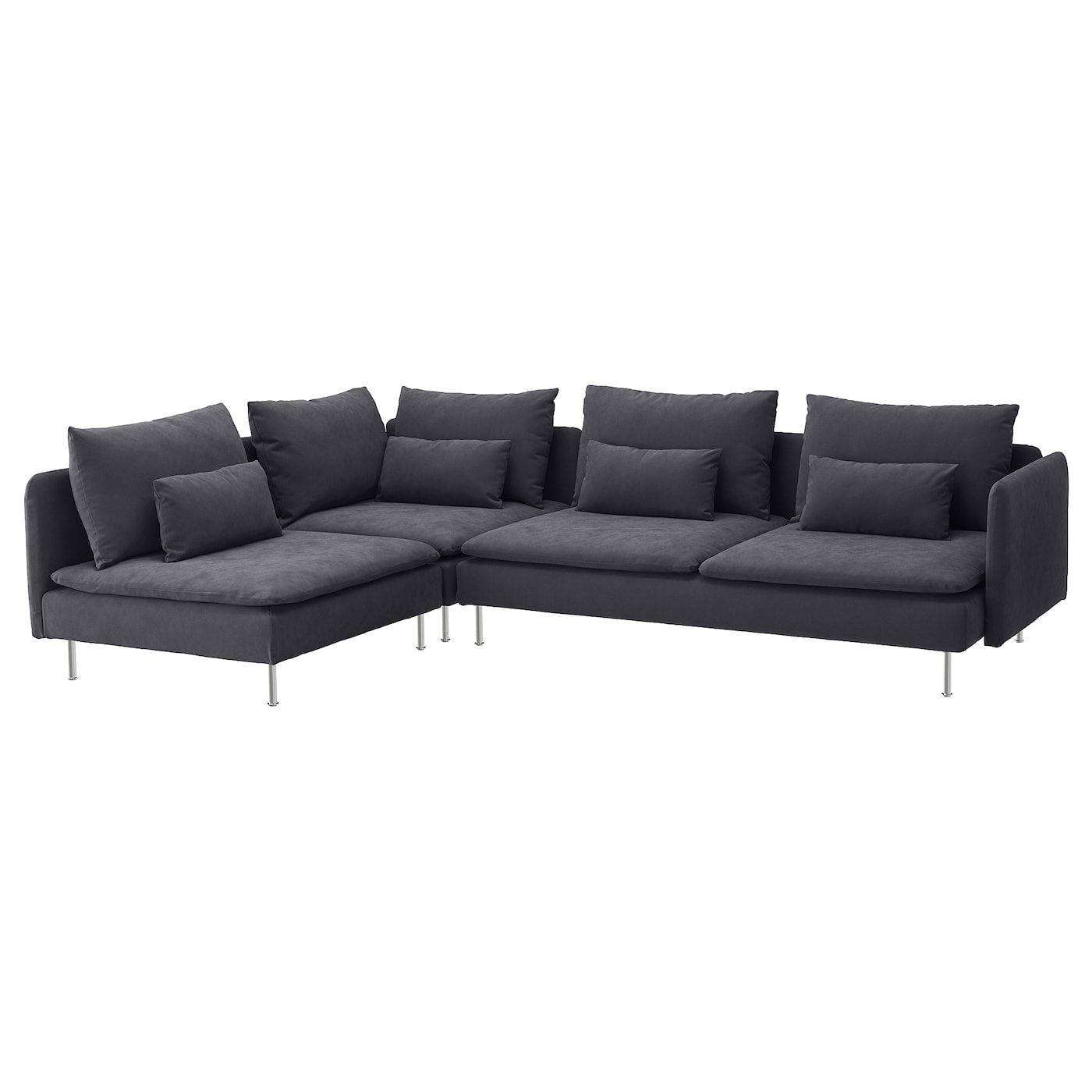 Soderhamn Sectional 4 Seat Corner With Open End Samsta Dark Gray Canape Angle Mobilier De Salon Ikea