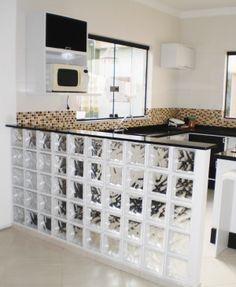 Cozinha Americana Simples Com Tijolo De Vidro Casas Cozinha