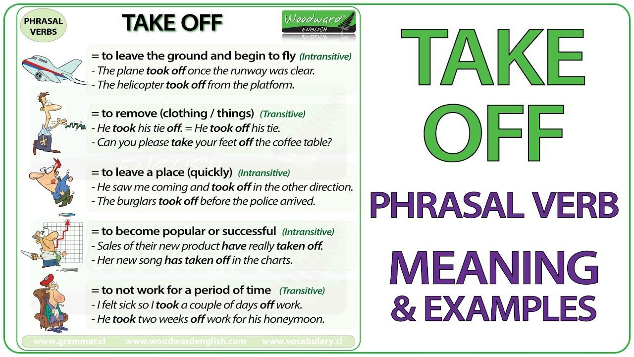 TAKE OFF - Phrasal Verb Meaning & Examples in English #ESL ...