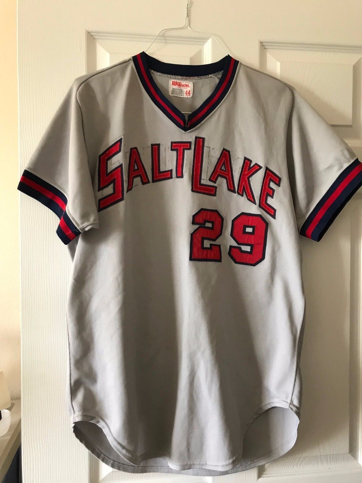Excellent Game Used Worn Salt Lake City Bees Jersey Angels Minor League Affiliate Number 29 Size 44 Team Change Salt Lake Team Jersey Bee City Mlb Uniforms
