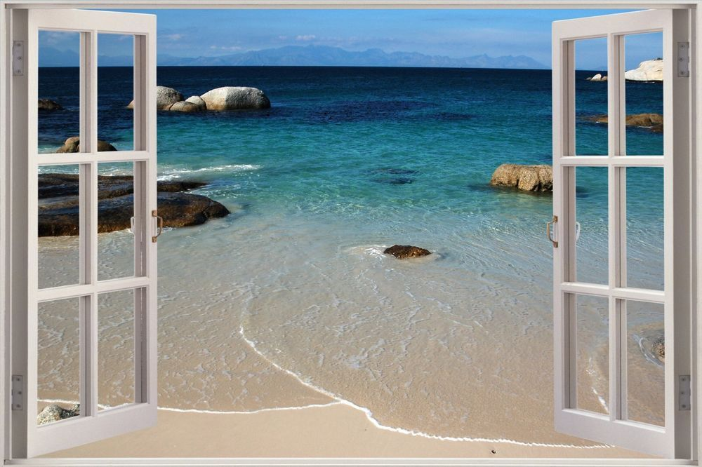 Best Details About Huge 3D Window Sea Beach Shore View Wall 640 x 480
