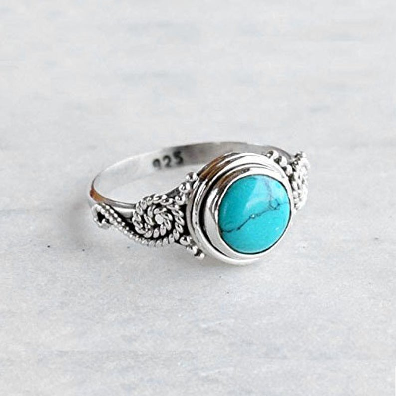 Turquoise Silver Ring,Gem Stone Ring,Silver Ring,925 Solid Ring,Handmade Ring,Gift For Her,Boho Ring,Ring For Women,Vintage Ring,Unique Ring