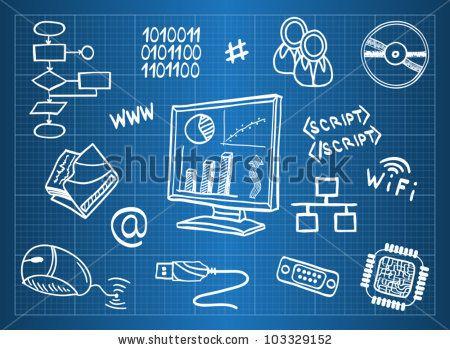 Blueprint of computer hardware and information technology symbols blueprint of computer hardware and information technology symbols sketch style by martina vaculikova via malvernweather Images