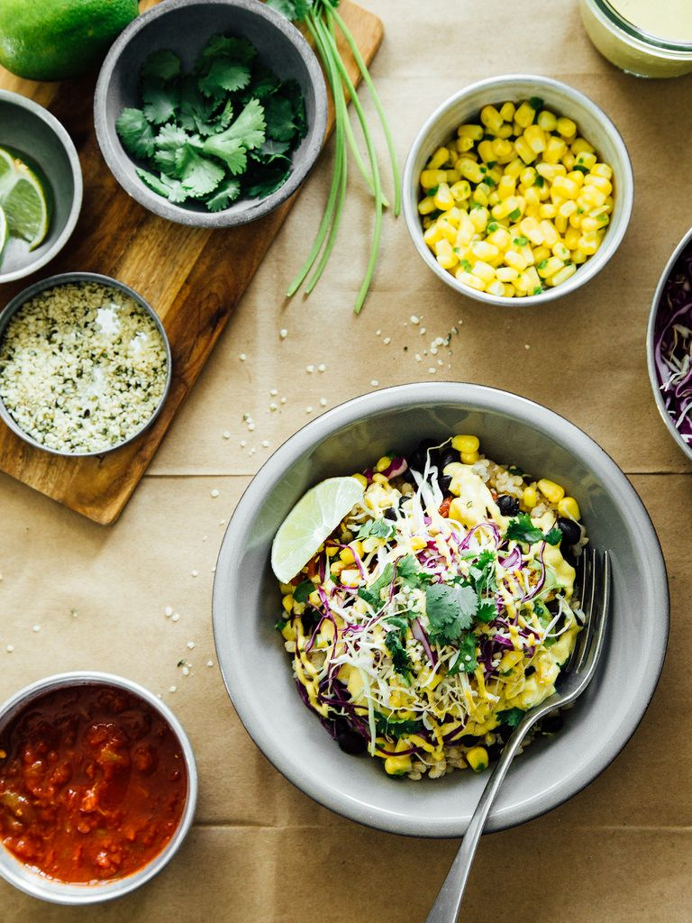 Spicy black bean burrito bowls with cashew + hemp seed...