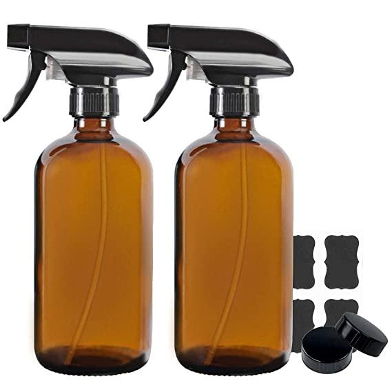 Amazon Com 2 Pack 16 Oz Amber Boston Glass Spray Bottles Refillable Trigger Sprayers With Mist Stream For E Glass Spray Bottle Spray Bottle Trigger Sprayer