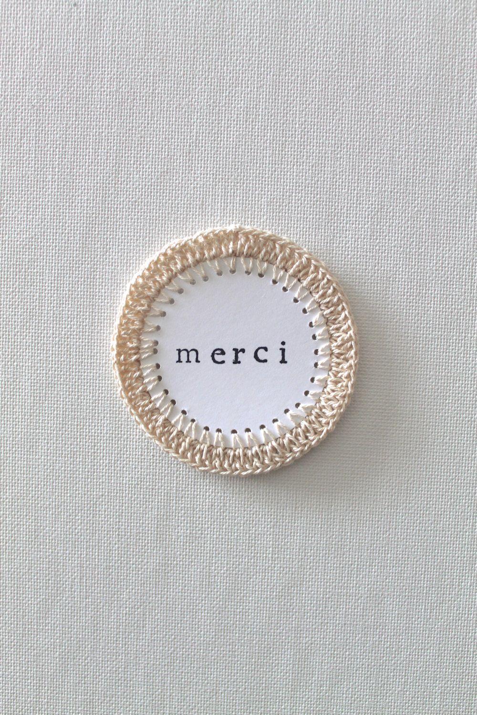 FRENCH TAG Paper Scrapbooking Embellishments Crochet NEUTRAL Handmade. $2.00, via Etsy.