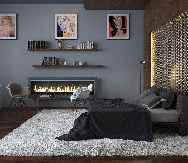 modernes Schlafzimmer einrichten Poster Wand Kamin Schlafzimmer