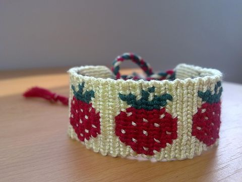 Strawberry Macrame Friendship Bracelet, made to order