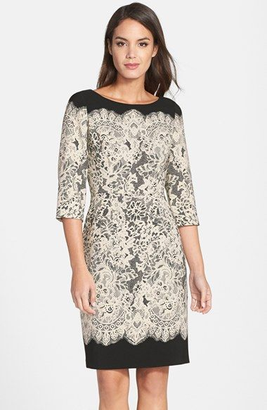 Adrianna Papell Lace Print Crepe Sheath Dress (Regular & Petite ...