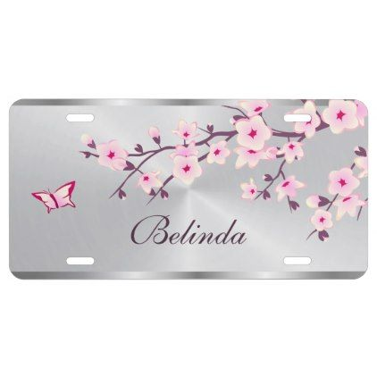Cherry Blossoms Flower Pink Silver License Plate - flowers floral flower design unique style