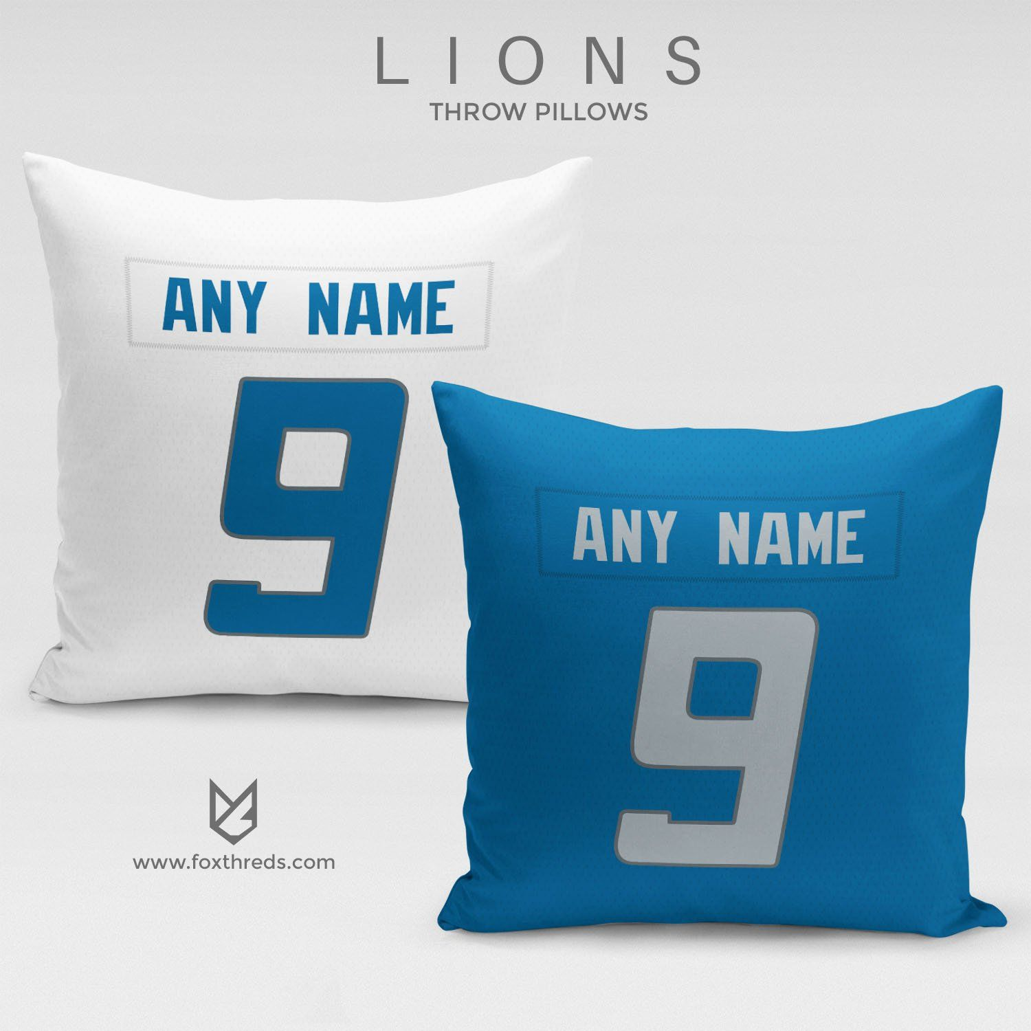 998f3cec7 DETROIT LIONS PILLOW FRONT AND BACK - PERSONALIZED SELECT ANY NAME   ANY  NUMBER