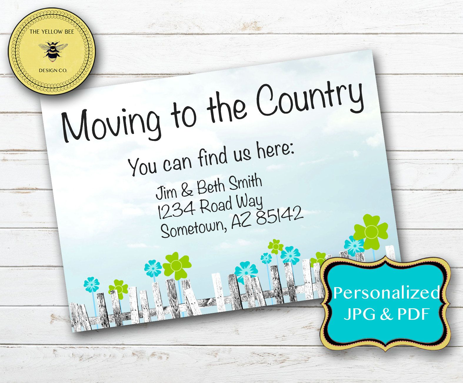 Editable moving announcement new home printable card