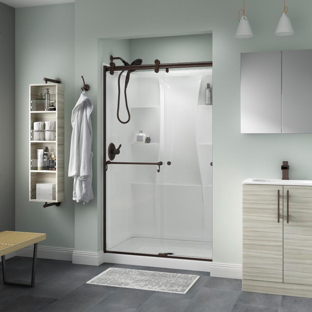 Delta Portman 48 X 71 In Frameless Contemporary Sliding Shower