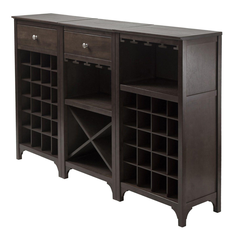 Winsome Wooden Storage 3 Piece Modular Wine Cabinet Set With Drawer
