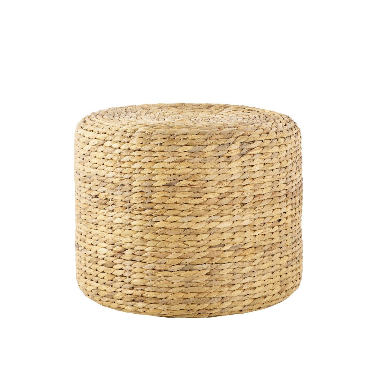 Pouf en jonc de mer tress poufs living rooms and outdoor dining - Rechthoekige lederen pouf ...