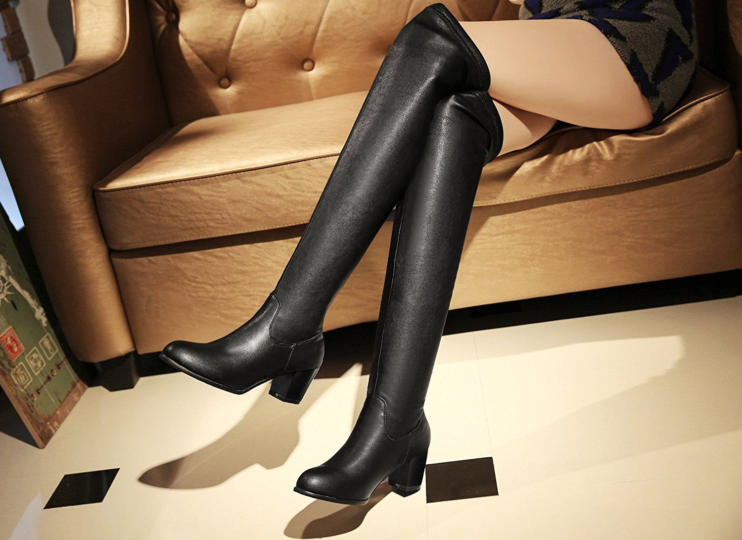 be5025a0d3217 Women Thigh High Boots Elastic Winter Sexy High Heel Over The Knee ...