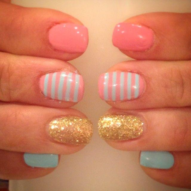 #gel #gelnails #nails #corail #blue #gold #glitter #line #perfect #manucure @barbeautemaggiebouffard #madeby @maggiebouffard #comeseeme 450.482.6162 #Padgram
