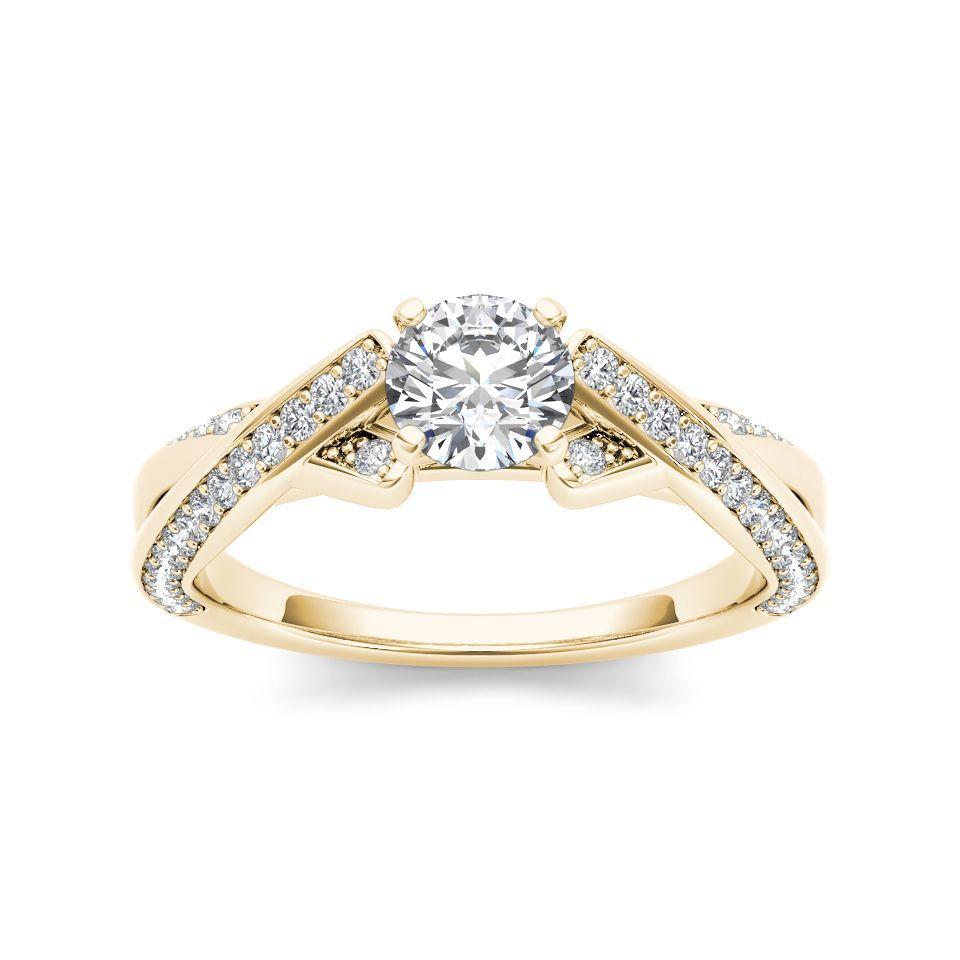De Couer 14k Yellow Gold 1ct TDW Diamond Engagement Ring (H-I, I2) (Size - 7.75), Women's