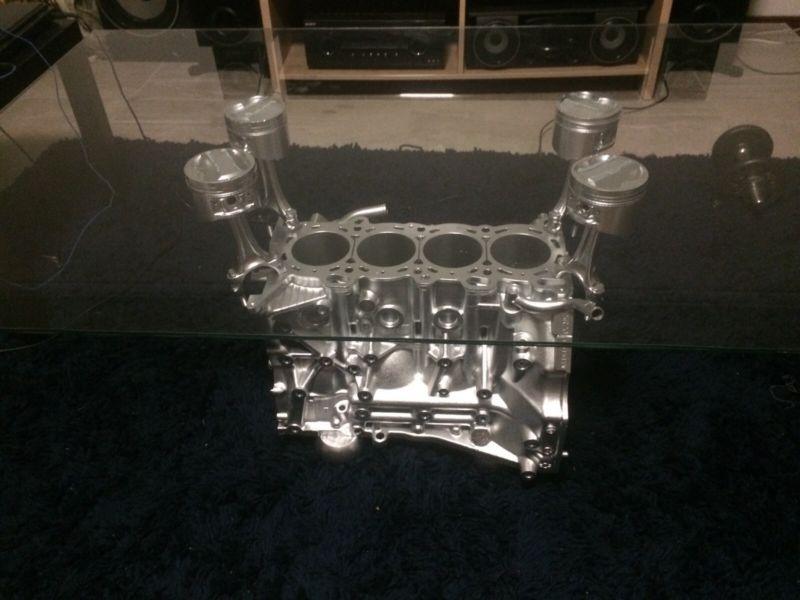 SR20 Silvia 4 cylinder chrome engine block coffee table Made from an actual engine block Perfect for the man cave, living or lounge room Brand new, made it ..., 1095604484