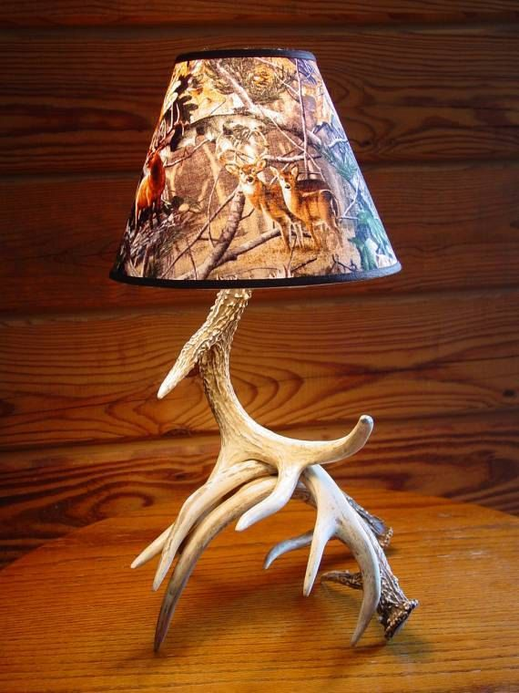 Charming Rustic True To Life Reproduction Deer Antler Table Lamp, Camo Lamp Shade  Deer Antler Table