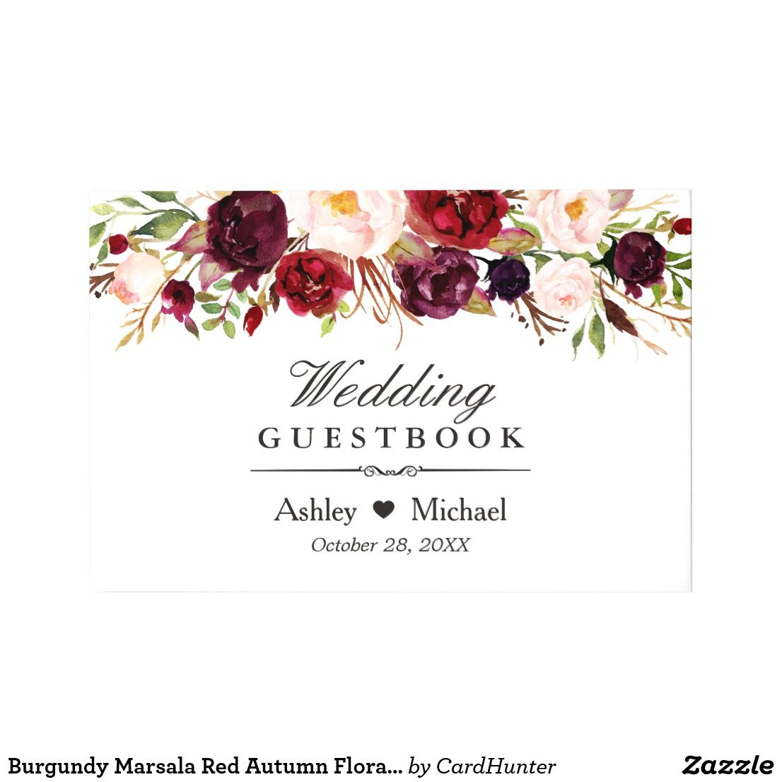 Burgundy Marsala Red Autumn Floral Wedding Guest Book | Floral ...