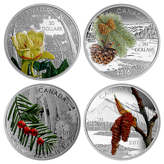 Canada Coins - Forests of Canada - 1 oz. Fine Silver 4-Coin Subscription (2015) - Mintage: 8,500