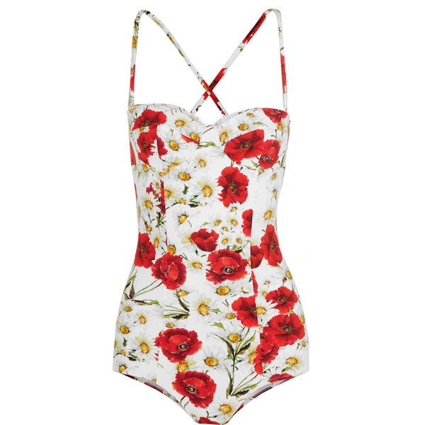 801e3ad50e7 Dolce & Gabbana Floral-print swimsuit ($460) ❤ liked on Polyvore featuring  swimwear, one-piece swimsuits, swim, swimsuits, body, dolce & gabbana, red,  one ...