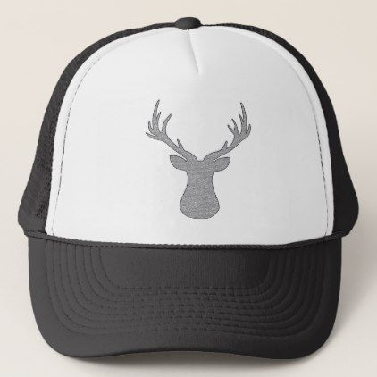 Deer - geometric pattern - gray and white. trucker hat  9fbed513fe3a