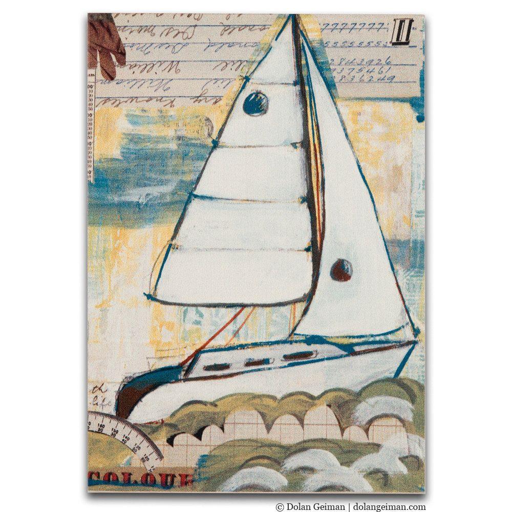 Small Boat Art Print on Wood DG MINI Sailboat East by dolangeiman, $32.00