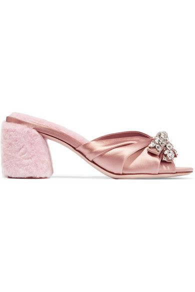 Heel measures approximately 65mm/ 2.5 inches Antique-rose satin, pastel-pink shearling Slip on Made in Italy