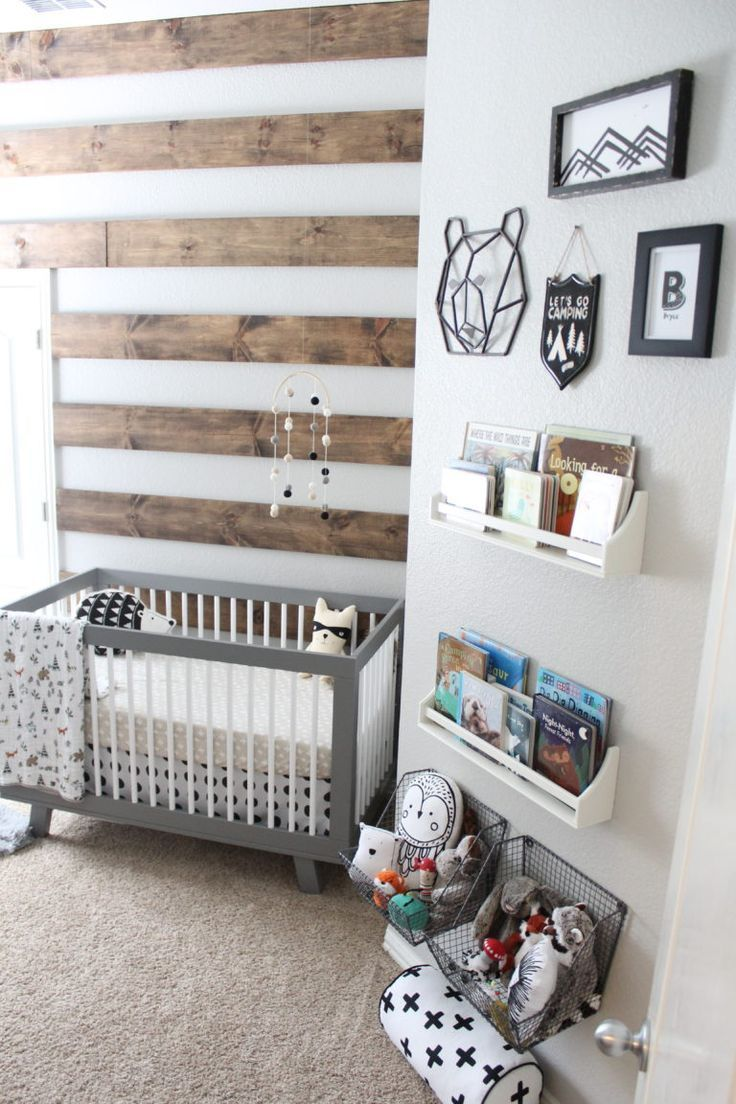 Industrial Boho Nursery In Black And White With Large Wood Name