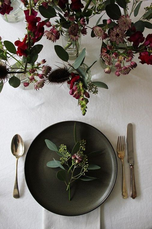 Simple, elegant table setting with rich dark hues - lovely for ...