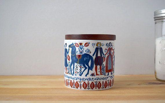 Vintage Scandinavian Design Jar Folk Art Kitchen by circa78vintage