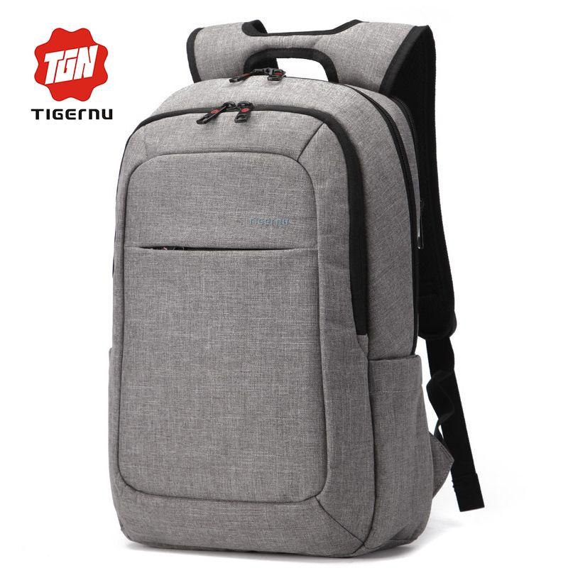 2017 Tigernu Canvas Men's Backpack Bag External USB Charge Brand ...