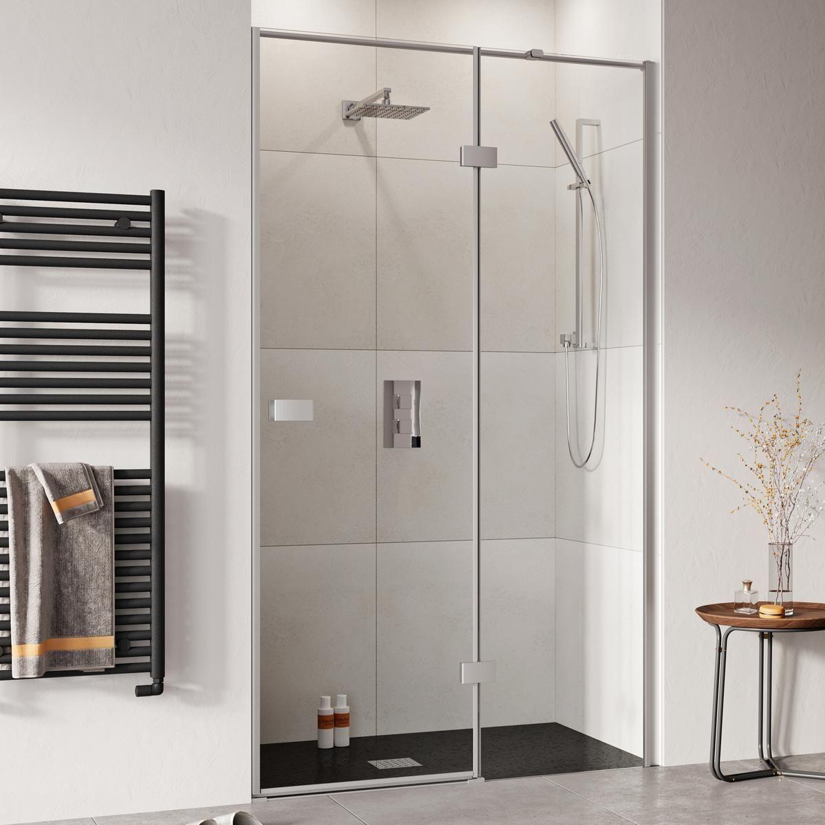 Tissino Lugano Frameless Hinged Shower Door With In Line Panel