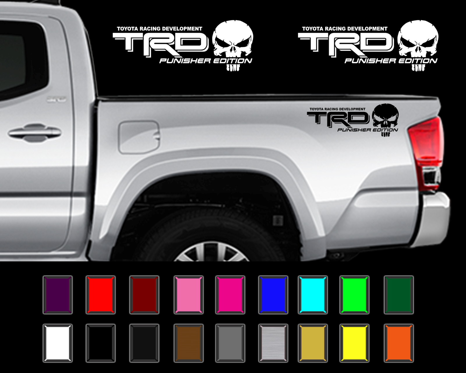 TRD PUNISHER EDITION PAIR Decals Toyota Tacoma Tundra Truck Vinyl Stickers
