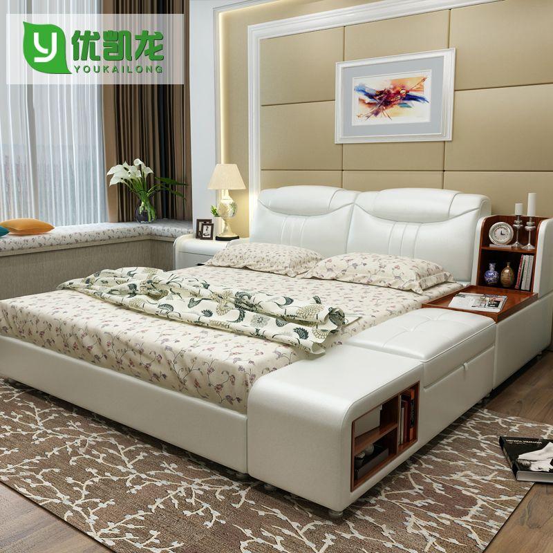 Moderne Leder Königin Größe Speicherbettrahmen Mit Seitenschrank Hocker Schlafzimmer  Möbel Sets Keine Matratze B06q