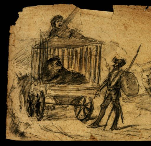 Don Quijote i el lleó :: Materials gràfics (Biblioteca de Catalunya)