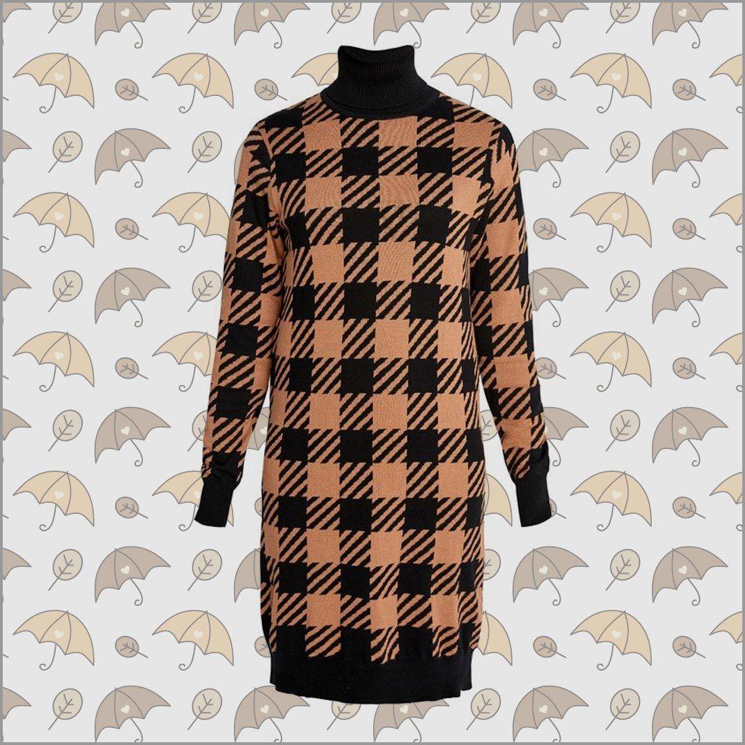 millie checked knitted dress aus 100% biobaumwolle von