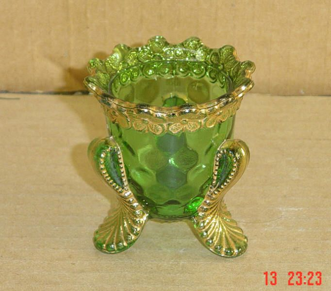 EAPG EMERALD GREEN AND GOLD VERMONT HONEYCOMB TOOTHPICK HOLDER US GLASS 1899 picclick.com