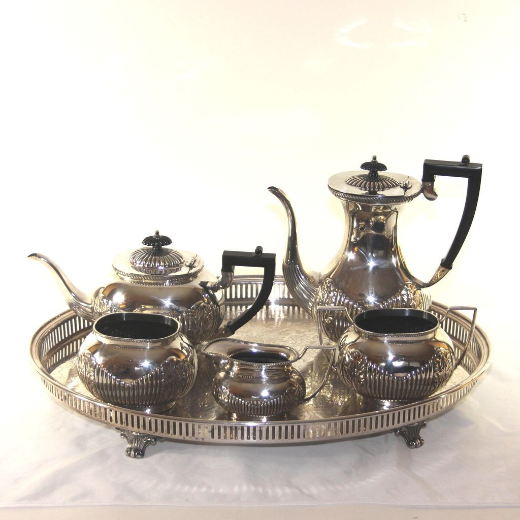 Stylish Sheffield silver plate coffee/tea service with gallery tray from julietjonesvintage on Ruby Lane  sc 1 st  Pinterest & Stylish Sheffield silver plate coffee/tea service with gallery tray ...