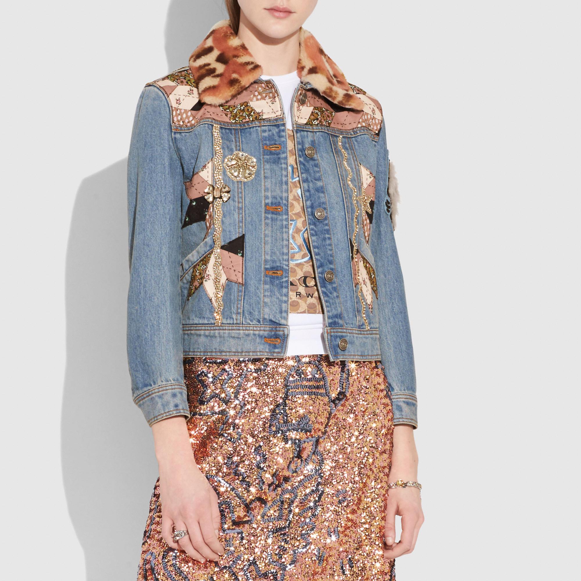 Coach Embellished Quilted Patchwork Denim Jacket In Blue Modesens Denim Jacket Embellished Denim Jacket Clothes Design [ 2000 x 2000 Pixel ]