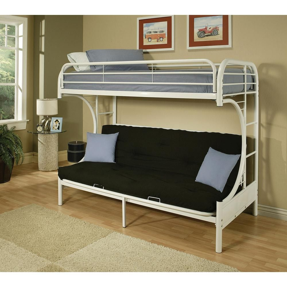 Futon bunk beds for adults - Eclipse Twin Over Full Metal Kids Bunk Bed White