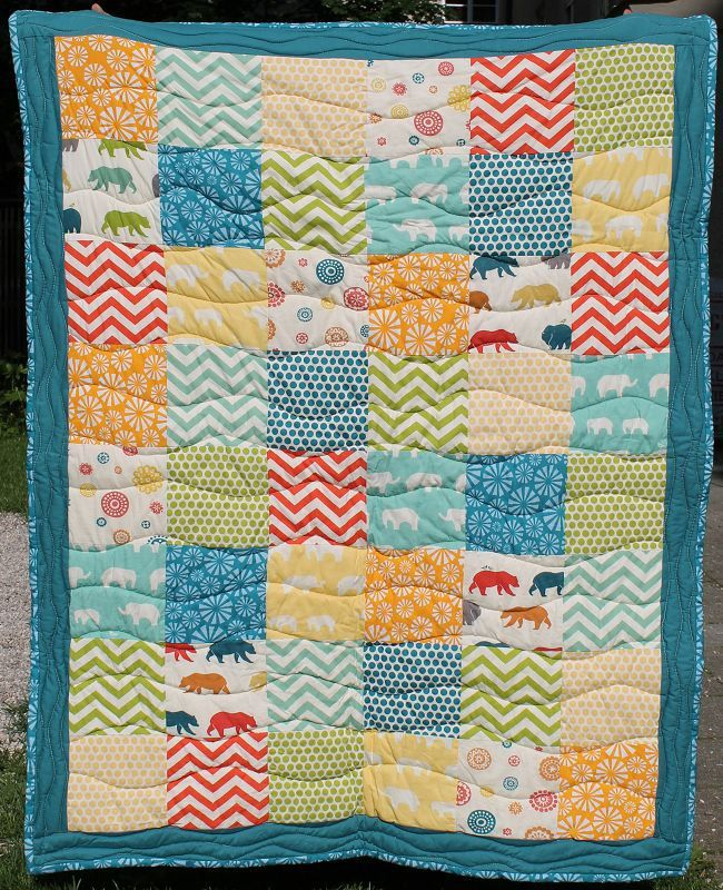Baby-Quilt for Twins with birch fabric #2